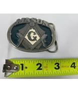 Masonic Freemason Mason Belt Buckle USA Made Vintage 1985 C+J Green Enam... - $24.72
