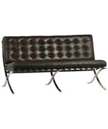 Cigar Brown Top Grain Leather Lounge Chair Contemporary Stainless Steel,... - $1,876.05
