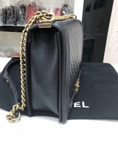 AUTH CHANEL BLACK QUILTED LAMBSKIN LARGE BOY FLAP BAG GHW image 4