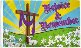 EASTER REJOICE AND REMEMBER 3X5' FLAG NEW CHRISTIAN HOLIDAY CROSS LILLIES - $9.85