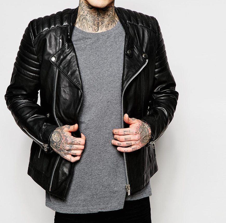 New Men's Genuine Lambskin Leather Motorcycle Jacket Slim fit Biker Jacket NF2 - $69.99 - $109.99