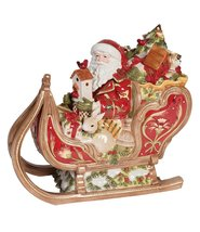 Fitz and Floyd Damask Holiday Santa & His Sleigh Cookie Jar - $220.00
