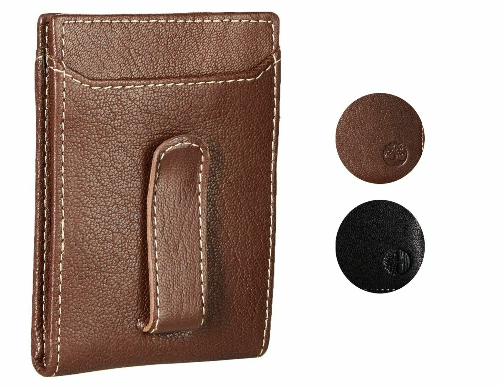 Timberland Men's Premium Genuine Leather Money Clip Credit Card Id Wallet