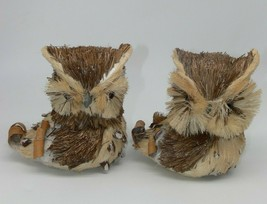 Lot of 2 OWL Decorative Figures Woodland Creature Nature Look Home Decor - $19.99