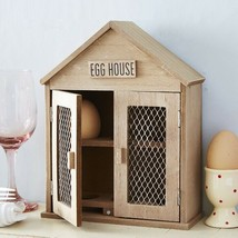 Vintage Rustic Wooden Two Door 6 Egg House Storage Box Rack Holder - $28.86