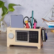 Wooden Office Desk Organizer Pen & Pencil Holder Stationery Storage Box ... - $34.94