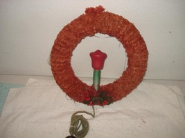 VINTAGE 1930s-40s CHRISTMAS WREATH CHENILLE ELECTRIC LIGHTED CANDLE - €69,40 EUR