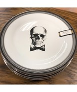 Ciroa WICKED Silver Black Skull Halloween Dinner Salad Plates Set 8 ~NEW ~ - $99.99