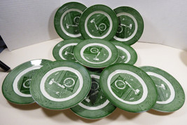 VTG Royal China Colonial Homestead green set of 17 plates dessert / bread butter - $54.45