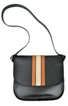 Coach Womens Black Brown Striped Patricia Leather Saddle Bag Purse $550 ... - $359.36