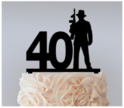 40th Birthday Anniversary Cake topper,Cupcake topper,silhouette gangster 11 pcs - $20.00