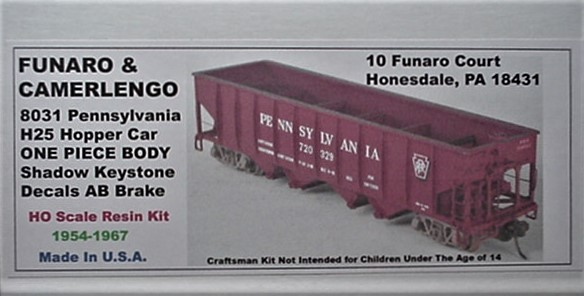 Funaro F&C  HO PRR H25 Hopper Car white Shadow Keystone decal  Kit 8031