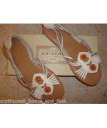 ARIZONA 8.5 M White Leather Franny Sandals Shoes NIB MSRP $45 - $28.99