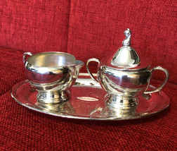 Vintage Signed WM A Rogers Silverplate Serving Creamer Sugar Bowl w Lid ... - $11.75