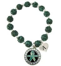 Custom Scoliosis Awareness Green Bling Bracelet Jewelry Choose Initial Family - $14.10+