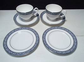 6 Piece Waterford Westport Snack Set ~ 2 Each, Cup, Saucer, Sml Plate - $14.95