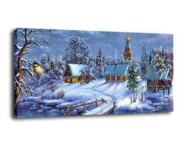 "Fantasy Art Oil Painting Print On Canvas Home Decor""Christmas scene""Framed - $19.79+"