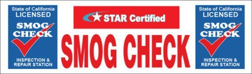 "GHP Indoor/Outdoor 2'x6' Vinyl Business ""SMOG CHECK Inspection Repair STAR Certi"