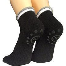 Lantee Non Slip Skid Yoga Pilates Socks with Grips Cotton for Women, Black - $187,24 MXN