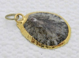 VTG Gold Toned Accented Brown Spotted Shell Pendant - $19.80