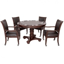 5 Piece Poker Table Set Walnut Finish Convertible Game Table plus 4 Arm ... - $1,853.84