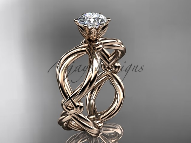 Rose gold unique engagement ring, Rope engagement ring, 14kt white gold twisted