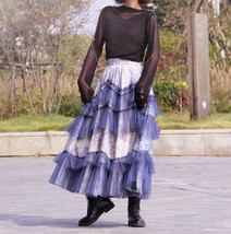 Gray Tiered Tulle Skirt Outfit High Waisted Full Plus Size Layered Tulle Skirts  image 4