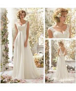White/Ivory Wedding Bridal Dress V-Neck Backless Lace A-Line Gown Ball C... - $74.44