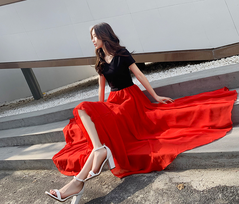Red chiffon skirt 9