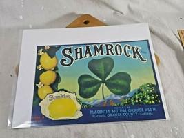 Vintage Fruit Crate Label Shamrock Brand Lemons Sunkist Placentia CA 12 x 9 - $13.85