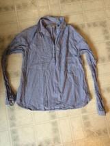 Ann Taylor LOFT Sz XS Blue White Striped Button Down Long Sleeve Tunic - $18.55