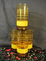 Libbey Striped Amber Brown Glass Tumbler with Yellow Bands Vintage Set of 4 - $22.25