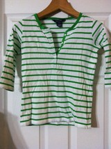 RALPH LAUREN GIRLS PRE-OWNED WHITE 100%COTTON TOP WITH GREEN STRIPES SIZ... - $18.69