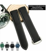 18 19 20 21 22mm Rubber Silicone Watch Strap Folding Buckle For Omega Wa... - $46.99