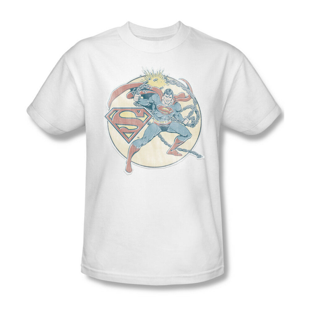 Superman Chains T-shirt retro DC comic superhero 100% cotton white tee DCO597