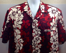 Royal Creations Red Hawaiian Shirt Classic Floral Hibiscus Traditional C... - $34.58
