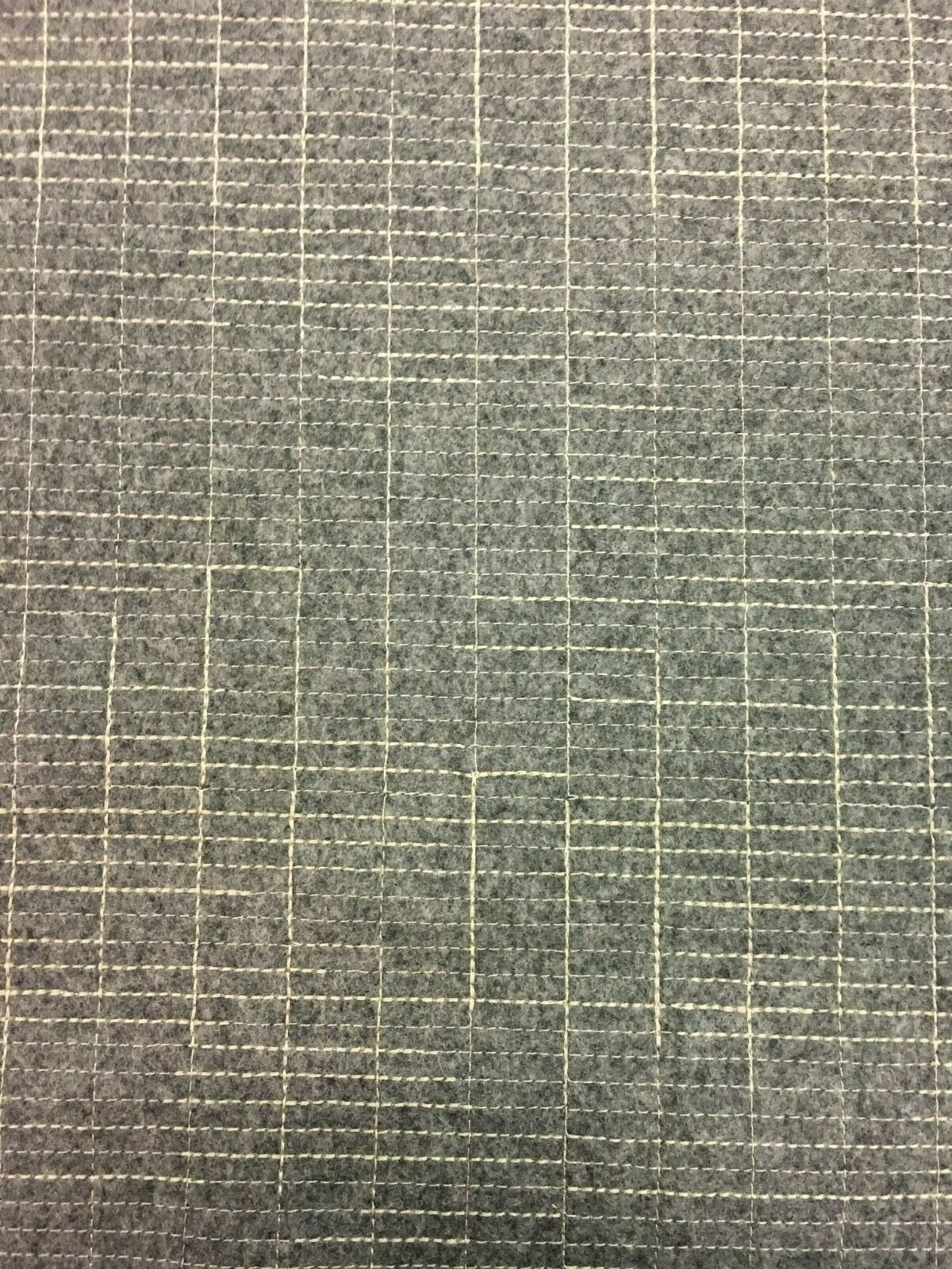 Luum Navigate Embroidered Grid Stone Gray Wool Upholstery Fabric 5.25 yds GG