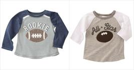 NWT Mud Pie Rookie All Star Football Applique Boys Gray Long Sleeve Shirt - $12.99