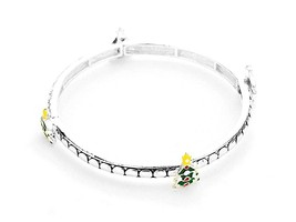 Silvertone Christmas Tree Stretch Bracelet - ₨710.95 INR