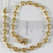 BRACELET YELLOW GOLD 750 18K, JERSEY MARINA, OVAL NAUTICA, LONG 18.5 CM - $454.18