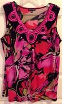 Notations Women's L Black Artsy Floral Multi V-Neck Sleeveless Appliqué ... - $19.62