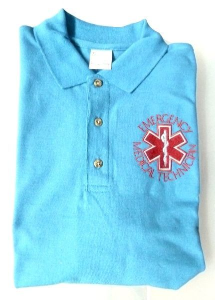 EMT Polo Shirt M Emergency Medical Technician Star of Life Light Blue Silver S/S