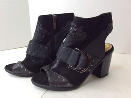 Circus by SAM EDELMAN Black Glitter Open Toe Mules Booties Block Heels Shoes 6 - $83.83