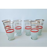 6p Textured Frosted Red Ringed Gold Trim Vintage Cocktail Drinking Glasses - $34.99