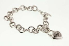 Argento Sterling Diamante Ciondolo a Cuore Bracciale Chiusura Toggle 17.1cm - $222.77