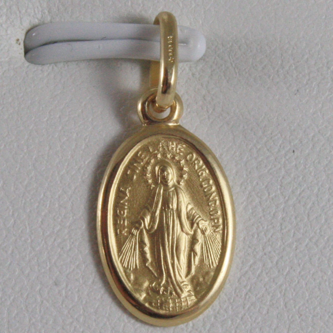 SOLID 18K YELLOW GOLD MIRACULOUS MEDAL, VIRGIN MARY, MADONNA, 0.79 MADE IN ITALY