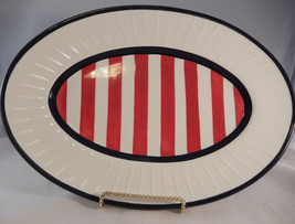 Sally Noll Hausenware Patriotic Striped Oval Platter Red White Blue 13 Inch - $18.76