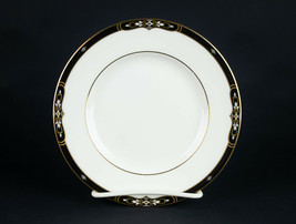 "Wedgwood Preston Bread Plate, Vintage Black Band Gold Trim Bone China England 6"" - $9.80"