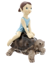 Hagen-Renaker Miniature Ceramic Turtle Figurine Desert Tortoise with Girl Riding image 2