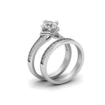 Solid 14k White Gold Bridal Wedding Ring Set 0.75ct Moissanite Promise Ring Set - $1,449.99
